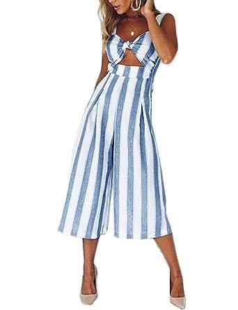 f3a44c8558e Subtle Flavor Women s Sexy Spaghetti Strap V Neck Striped Wide Leg Long  Pants Jumpsuit Romers Blue