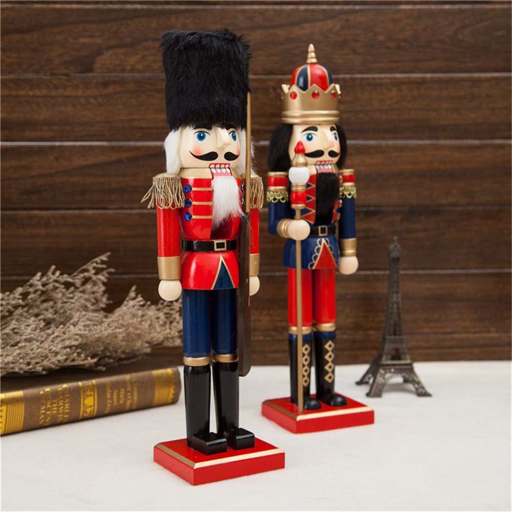 Zezego Artisanat de poup/ée 38CM artisanat en bois Casse-noisette Soldat Forme Marionnette Cadeau De No/ël D/écoration