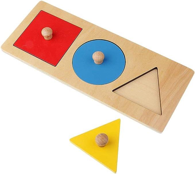 SODIAL 1 Kit Montessori Geometrie Jouet en Bois 3 Couleurs Rond + Triangle-+ Carre Jeu Educatif Jouet dapprentissage Precoce pour Enfant Bebe