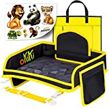 Kids Travel Tray for Car Seat Including Carry Bag & 6 Stickers Bundle (Black)