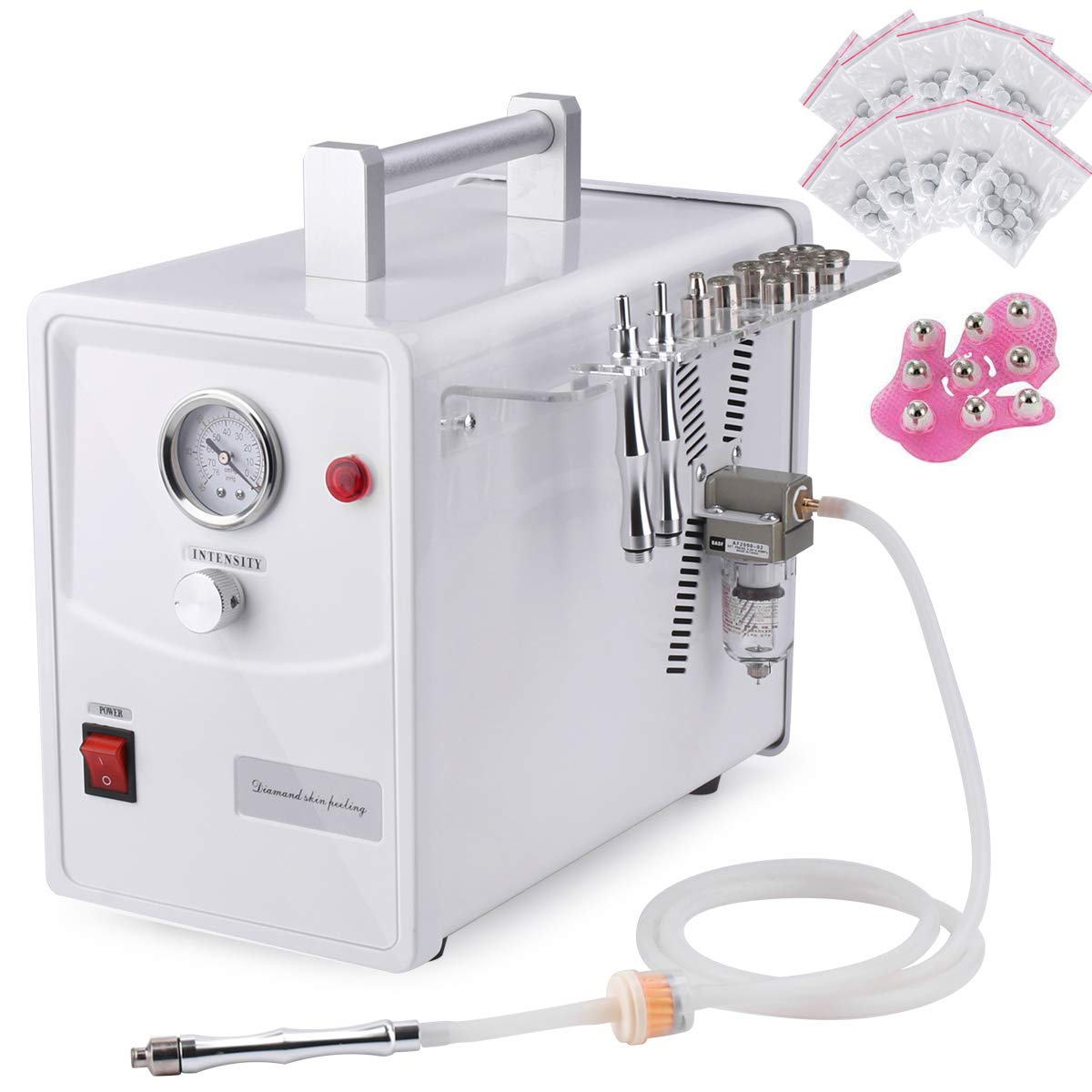 Microdermabrasion Machine with 600pcs Cotton Filter, MYSWEETY Professional Diamond Microdermabrasion Dermabrasion Salon Equipment for Facial Peeling Skin Care Spa (Suction Power: 0-68cmHg)