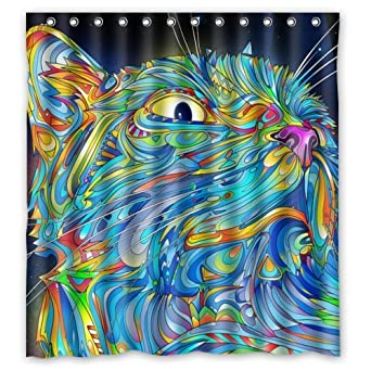 HomeFamily Eco Friendly Abstract Colorful Trippy Cat Art Printed Fabric Bathroom Shower Curtain With Hooks Polyester