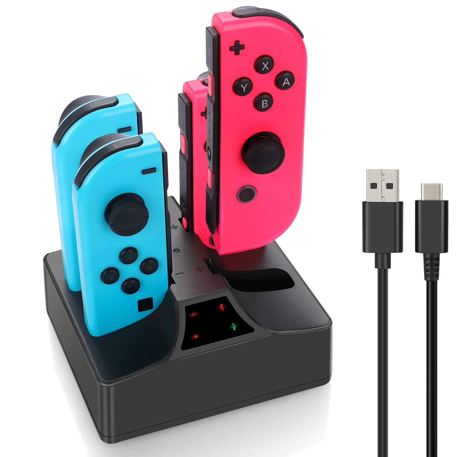 YCCSKY Switch Joy-Con Controller Charger Charging Dock 4 in 1 Joy con Charger Stand with Type C Cable for Nintendo Switch Joy-Cons