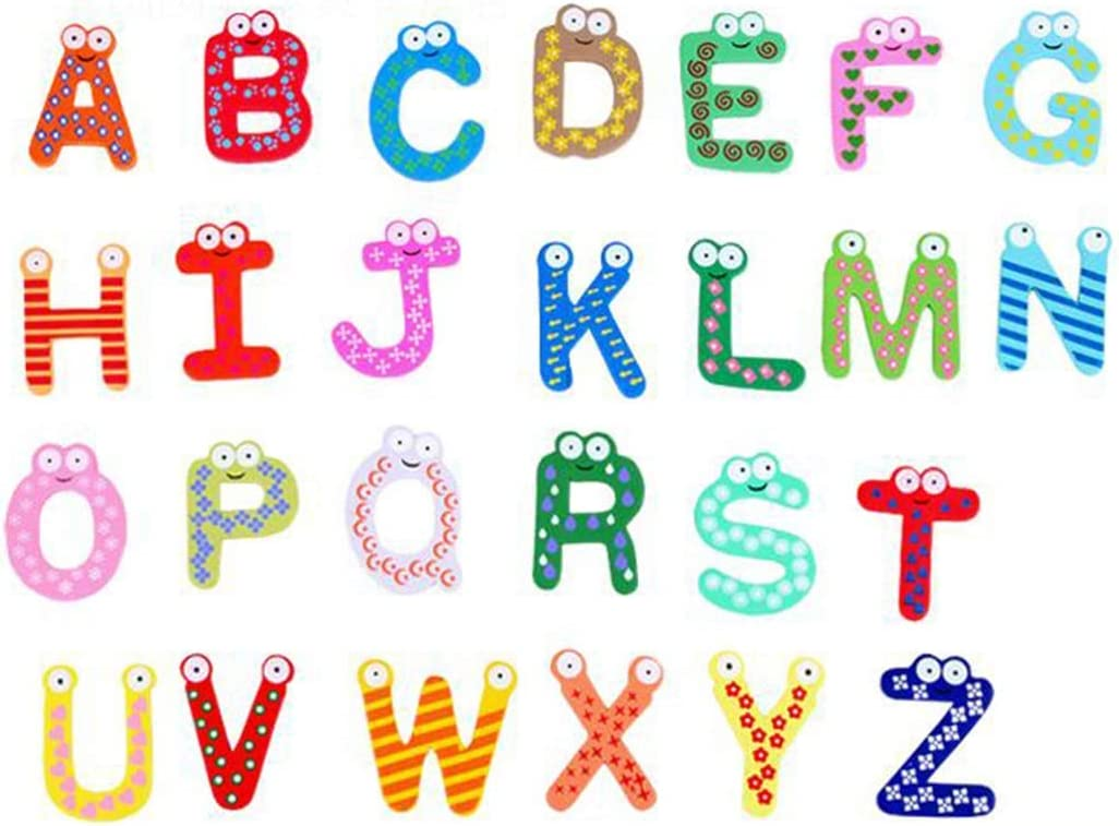 WHFC Fridge Magnets, 26 Pcs Alphabet Muliticolor Cute Cartoon Refrigerator Office Magnet for Calendars Whiteboards Maps Wooden Fun Decorative
