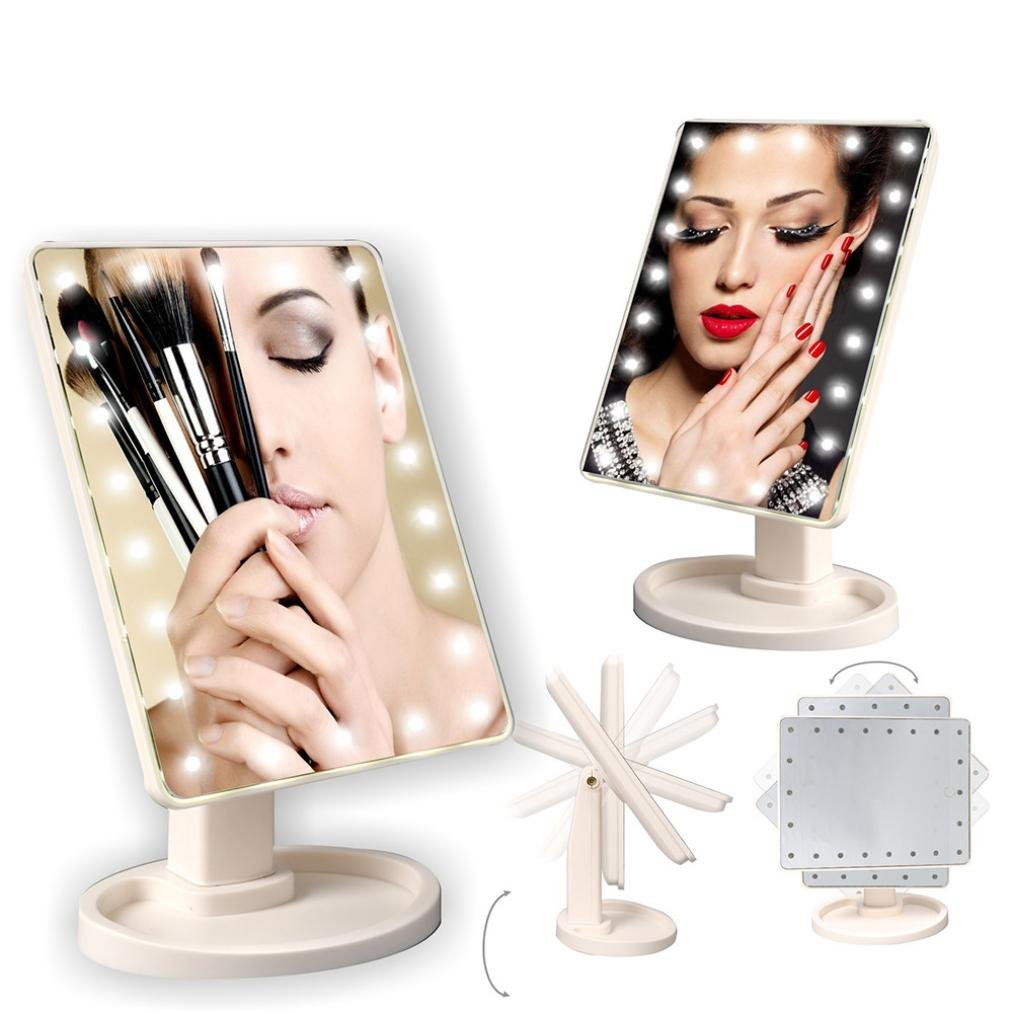Dreamyth 22 LED Lighted Touch Screen Beauty Vanity Makeup Cosmetic Mirror Square Shape Durable (White)