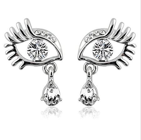 452084827 Nikgic Shinning Eyelashes Earrings Diamond Girl Fashion Ear Stud Earring  Jewelry Claps (Silver): Amazon.co.uk: Kitchen & Home