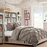 Pinched Pleat Soft Taupe Bedding 7 Piece Bed in a Bag Pintuck Puckered Polyester Microfiber QUEEN Comforter Set