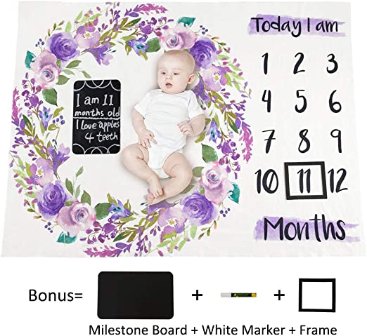 Newborn Infant Baby Monthly Numbers Flower Blanket Photography Prop Rug Mat tall
