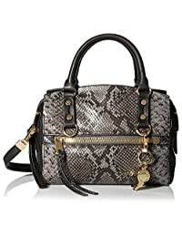Cynthia Rowley Women's Dylan Mini Satchel, Black/Slate Grey Snake