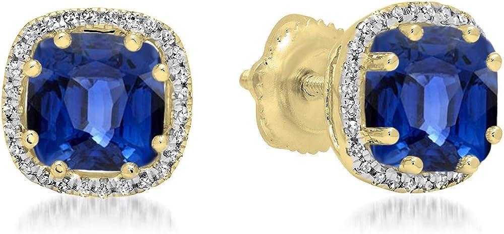 18K amarillo oro 6mm cada cojín Gemstone y Diamond Ladies Halo estilo Stud Pendientes