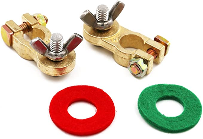 1 Pair Ampper Top Post Battery Terminal Protector Set for Vehicle and Boat Brass Battery Terminals Connectors Clamp