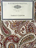 Raymond Waites Fabric Tablecloth Rust Orange Green Fall Autumn Paisley Pattern on Cream Ivory Background 60 Inches by 84 Inches Oblong