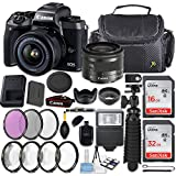 Canon EOS M5 24.2MP Mirrorless Digital Camera + EF-M 15-45mm f/3.5-6.3 IS STM Lens (Graphite) + 48GB Memory + Filters & Macros + Quality Spider Tripod + Slave Flash + Professional Accessory Kit