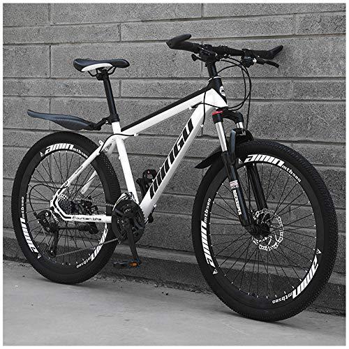 LJJ Mountain Bike 26 Inches, Double Disc Brake Frame Bicycle Hardtail with Adjustable Seat, Country Men's Mountain Bikes…