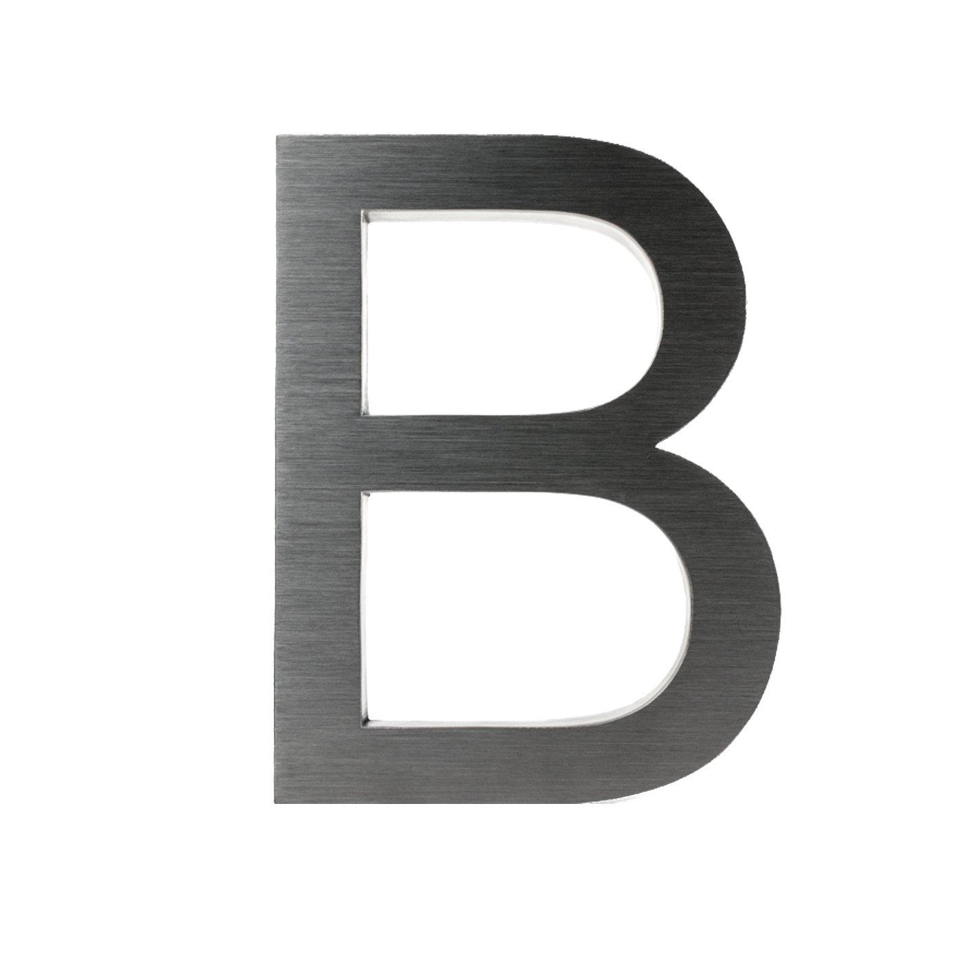 V2A aus geb/ürstetem Edelstahl H/öhe Montagematerial x 3cm 3D-Hausnummer D aus Edelstahl rostfreie /& witterungsbest/ändige Hausnummern im 3D-Effekt in 20cm inkl Tiefe