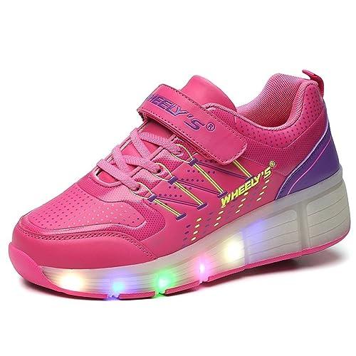 Zapatillas con ruedas automáticas y luces LED para niños - Rosa - Talla 33: Amazon.es: Zapatos y complementos