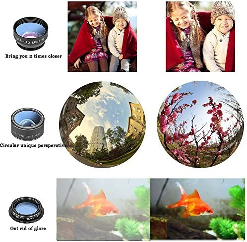 11 in 1 Cell Phone Camera Lens Kit Wide Angle Lens & Macro Lens+Fisheye Lens+Telephoto Lens+CPL/Flow/Radial/Star/Soft Filter+Kaleidoscope Lens Compatible for iPhone Samsung Sony and Most of Smartphone 61Vlu7Lj37L