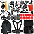 Somate Sports Accessories Kit for Gopro Hero 5 Hero 4 Hero 3+ Hero 3 Hero 2 Hero 1 Silver Black SJ4000 SJ5000 SJ6000 Action Camera (46 Items) from Somate Gopro