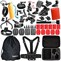 Action Camera Accessories Kit for Sports Gopro Hero 5/4/3/2 Silver Black SJCAM SJ4000 SJ5000 SJ6000, Akaso EK7000, EKEN H9r, Fitfort Underwater Wifi Cam (46 Items)
