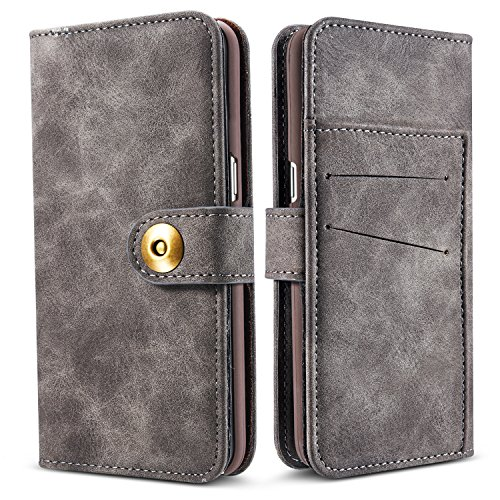 Galaxy S9 Case,JGOO 2 In 1 Detachable Premium Flip Removable Wallet Leather Case w/ Annular Magnetic Snap,Minimalist PC Protective Cover 4 Card Slot for Samsung Galaxy S9,Smoky gray