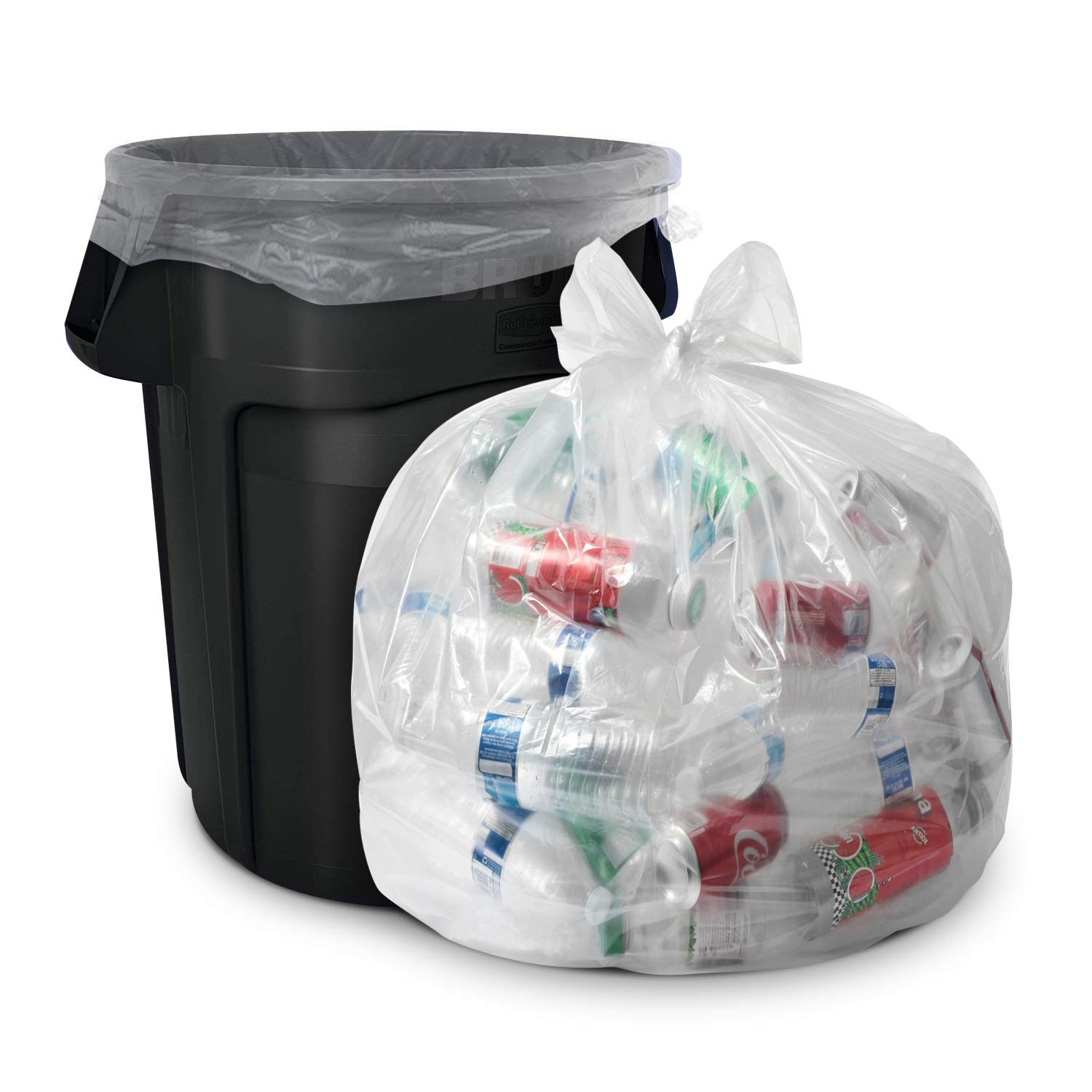 Aluf Plastics 39 Gallon Clear Trash Bags - (Huge 100 Pack) - 33