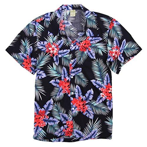 Urban Boundaries UB Apparel & Gear Men's Short Sleeve Rayon Hawaiian Tropical Patterns Shirts (Oleander Navy, (Wash 100 Rayon)