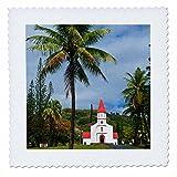 3dRose Danita Delimont - Churches - Little church on east coast of Grande Terre, New Caledonia, Melanesia - 16x16 inch quilt square (qs_258288_6)