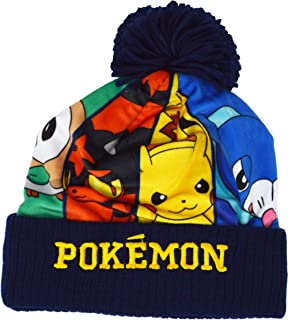 Pokemon Official Red Pickachu Pokeball Design Winter Bobble Beanie Hat Age 5-6 Y