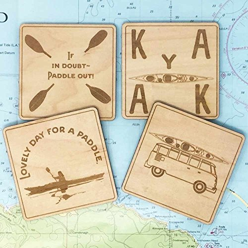 4 KAYAKING THEMED drink Coasters. A set of 4 birch laminate table top protectors, engraved with 4 different sea kayak paddler designs. Kayaker pictures, sayings and designs.Kayak gift, Ocean lovers