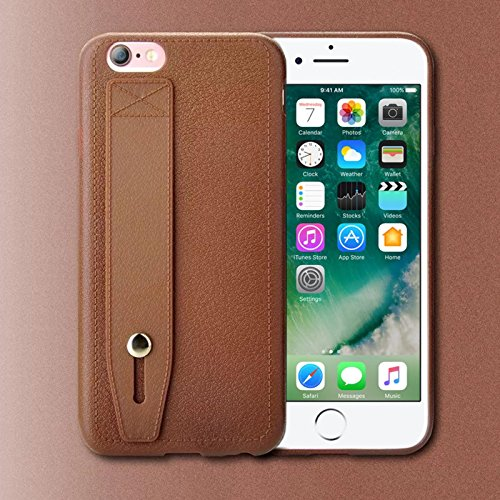 TPU Handy Schutz Hülle mit Handschlaufe für Apple iPhone 7 Plus Elegante Handy Tasche mit Standfunktion und Haltegriff Back Cover Case Etui Bumper in Braun