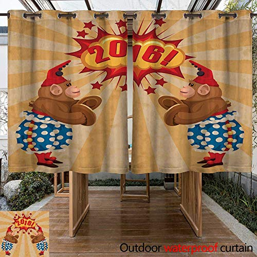 RenteriaDecor Outdoor Ultraviolet Protective Curtains Vintage Wind up Toy Monkey with Timpani and red hubcap W63 x L72 (Hubcap Wire)