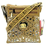 Betty Boop Designer Crossbody Messenger Bag For Women , Teens And Girls . Purse With Multi - Pockets , Rhinestones And A Long Adjustable Strap . 2017 Unique Fashion Handbag (Taupe)