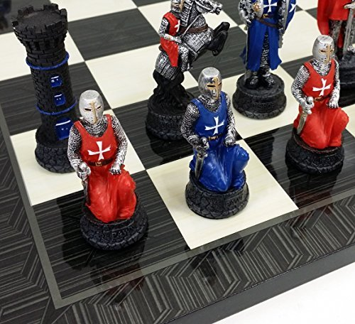 (Medieval Times Crusades Red & Blue Knights Chess Set Hand Painted W/ 17