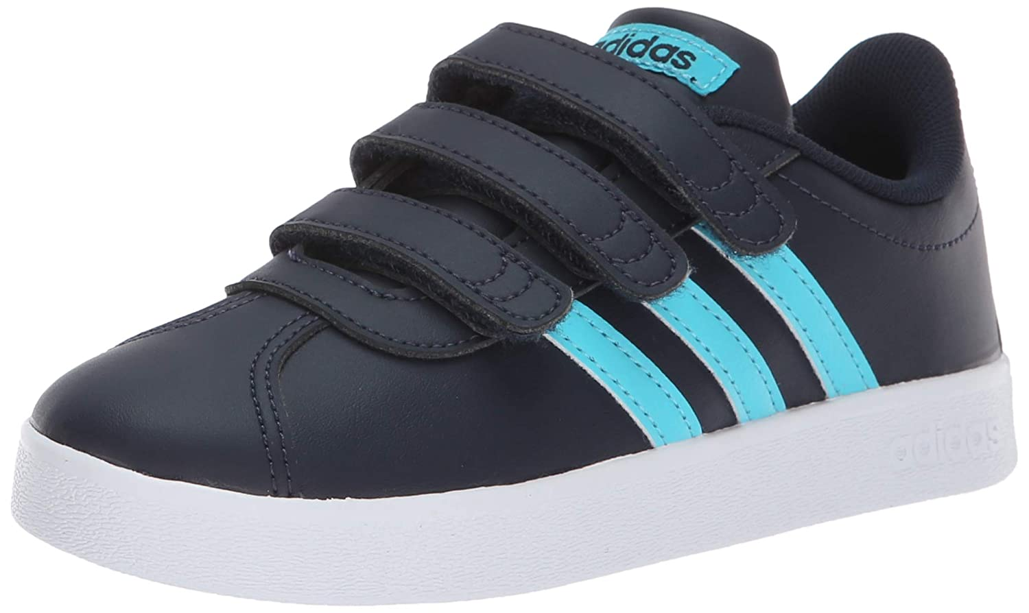 newest 67218 47cee Amazon.com   adidas Unisex Vl Court 2.0 CMF C Sneaker, Legend Ink Bright  Cyan White, 1 M US Little Kid   Sneakers