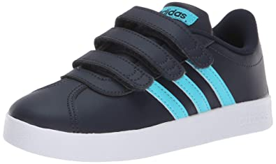 the latest 0afa2 5aff8 adidas Unisex Vl Court 2.0 CMF C Sneaker, Legend Ink Bright Cyan White