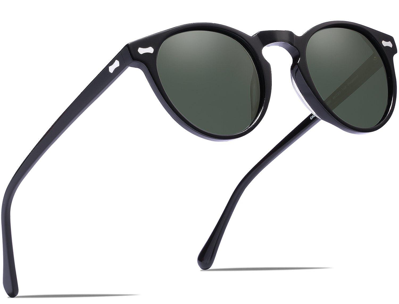 Carfia Vintage Round Polarized Sunglasses for Men, 100% UV400 Protection CA5288 Multicolored)