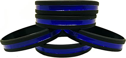 Silicone Awareness Bracelets with Thin Blue Line 10 HOLD THE LINE Wristbands