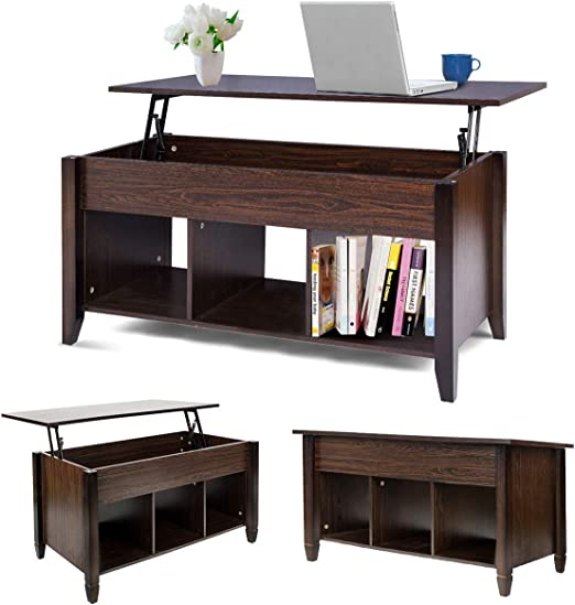 Mtfy Lift Top Coffee Table Modern Wood Home Living Room Furniture Coffee Table Desk With Hidden Compartment Storage Shelf Brown