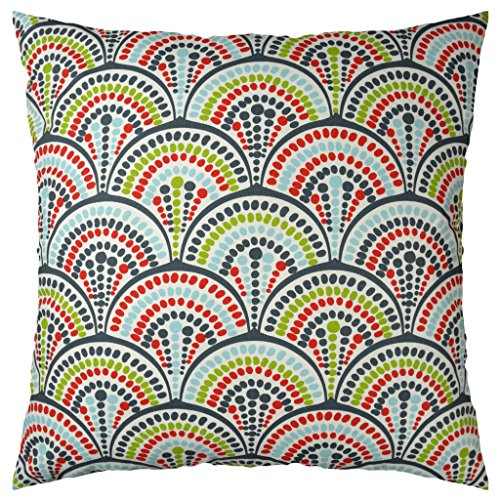 JinStyles Spring Floral Cotton Canvas Decorative Throw Pillow Cover (Red Blue and Green, 26 x 26)
