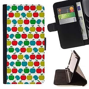For Sony Xperia M4 Aqua Case , Patrón trullo Verde Rojo Blanco Limpio- la tarjeta de Crédito Slots PU Funda de cuero Monedero caso cubierta de piel