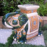 Large Stools International Caravan VHO16A-C-LG-608-IC Furniture Piece Large Porcelain Elephant Stool