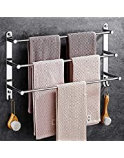 Towel Rail 3-Tier Bath Towel Rack with Hooks SUS 304 Stainless Steel Wall Mounted Towel Holder for Kitchen Bathroom Toilet Hotel,70cm