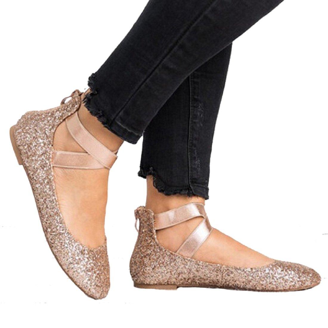 DOTACOKO Women Classic Elastic Ankle Flats Criss Cross Straps Slip on Round Toe Casual Ballet Shoes B07F6C95FM 7 B(M) US|Gold