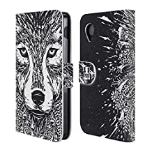 Head Case Designs Wolf Doodle Mix Leather Book Wallet Case Cover For LG Nexus 5
