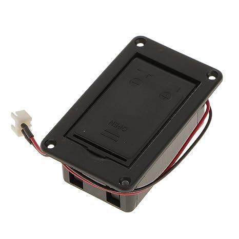 Accesorios de Guitarra Eléctrica Caja de Batería de Chip de Contacto Clavija 2 Negro