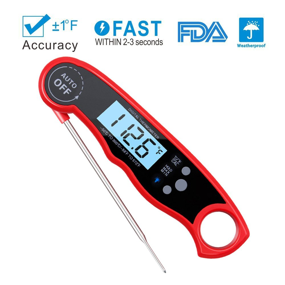 Meat Thermometer Digital Food Thermometer, Waterproof Kitchen Thermometer Instant Read Cooking Thermometer with Probe and Backlight Function for Food, Cooking, Kitchen, BBQ, Grilling, Steak, Candy, Liquids, Smoking ( Red ) Pripaso