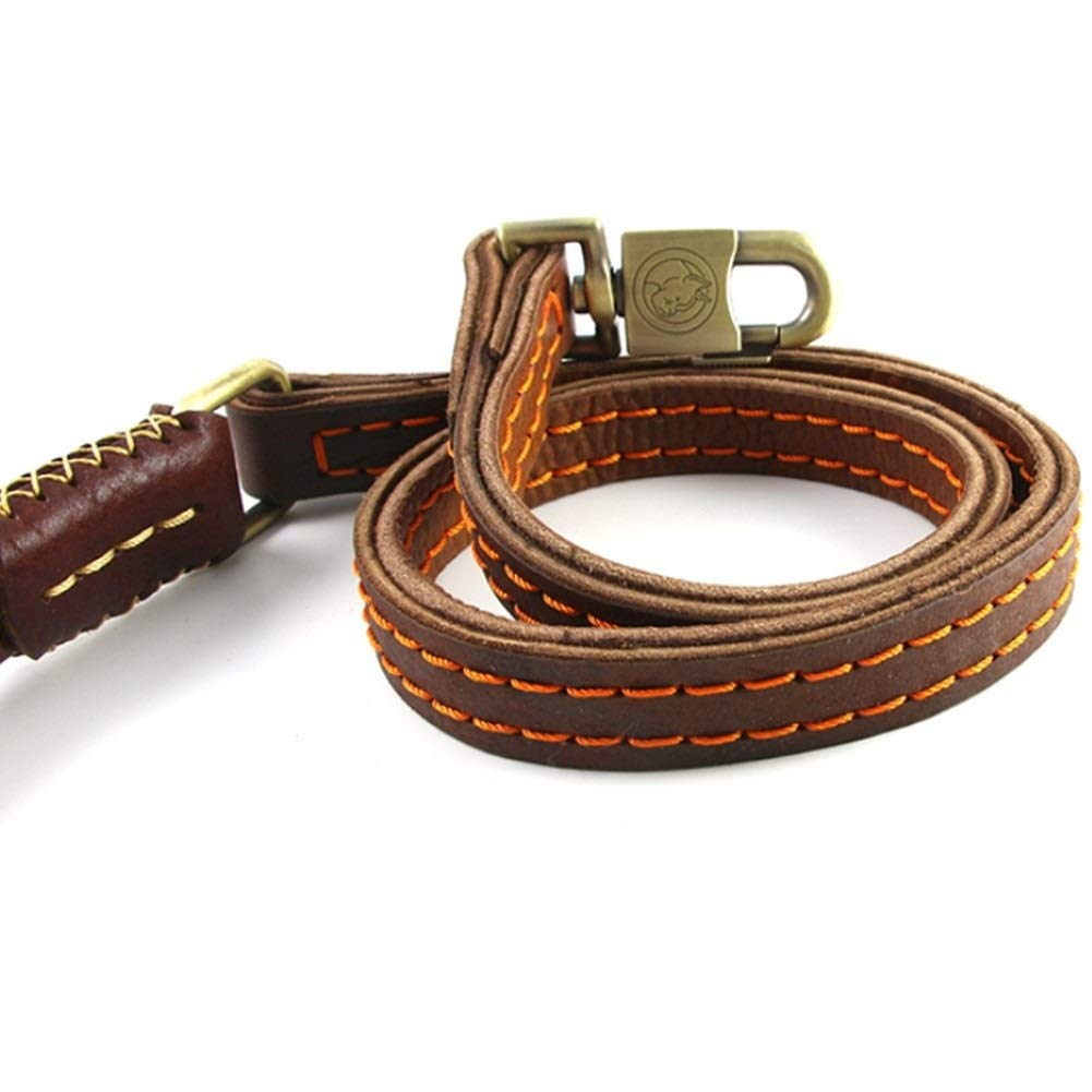 3pcs Leather Widened Dog Leash, Double-layer With Hand-stitched Medium-sized Large Belt Fashion Classic, 1.2 M, Dark Brown, Strong Pull (Size   3pcs)
