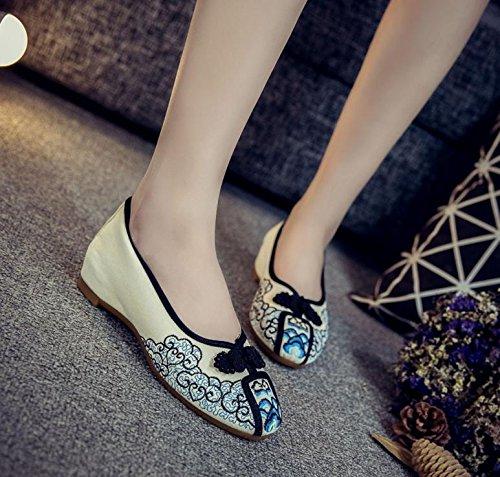 tela Zapatos moda étnico femenina bordados Chnuo casual black de zapatos estilo tendón cómodo de lenguado xfRwzS