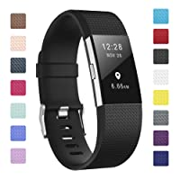 Fundro Compatible Fitbit Charge 2 Strap, Soft TPU Replacement Accessory Wrist Straps Band Wristband for Fitbit Charge 2 Smart Watch Fitness Tracker, Sport Wrist Strap for Women Men Small Large