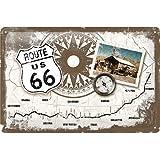 Cartel de chapa 20x30 cm Route 66 Compass